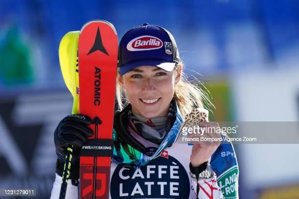 Mikaela Shiffrin of USA wins the bronze medal during the FIS Alpine Ski World Championships Women's Slalom on February 20, 2021 in Cortina d'Ampezzo...