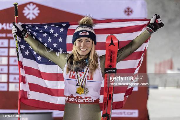 Mikaela Shiffrin of USA wins the bronze medal during the FIS World Ski Championships Women's Giant Slalom on February 14 2019 in Are Sweden