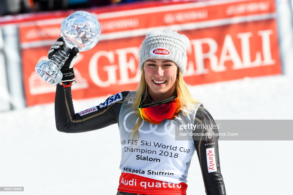 Mikaela Shiffrin of USA wins the globe during the Audi FIS Alpine Ski World Cup Finals Women's Slalom on March 17, 2018 in Are, Sweden.