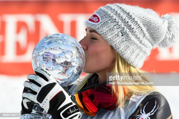 Mikaela Shiffrin of USA wins the globe during the Audi FIS Alpine Ski World Cup Finals Women's Slalom on March 17 2018 in Are Sweden