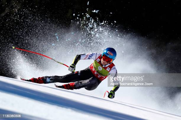 Mikaela Shiffrin of USA wins the globe in the overall standings during the Audi FIS Alpine Ski World Cup Men's and Women's Super G on March 14, 2019...