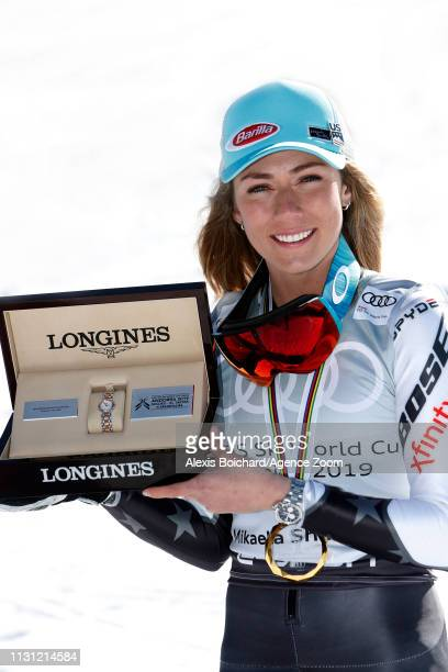 Mikaela Shiffrin of USA wins the globe in the overall standings during the Audi FIS Alpine Ski World Cup Men's Slalom and Women's Giant Slalom on...