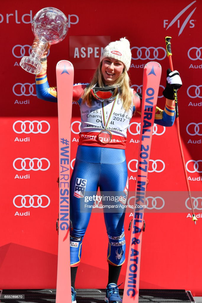 Mikaela Shiffrin of USA wins the globe in the overall standings during the Audi FIS Alpine Ski World Cup Finals Women's on March 19, 2017 in Aspen, Colorado