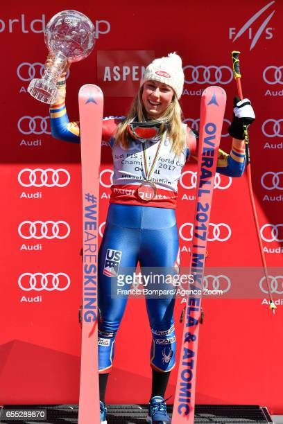 Mikaela Shiffrin of USA wins the globe in the overall standings during the Audi FIS Alpine Ski World Cup Finals Women's on March 19 2017 in Aspen...