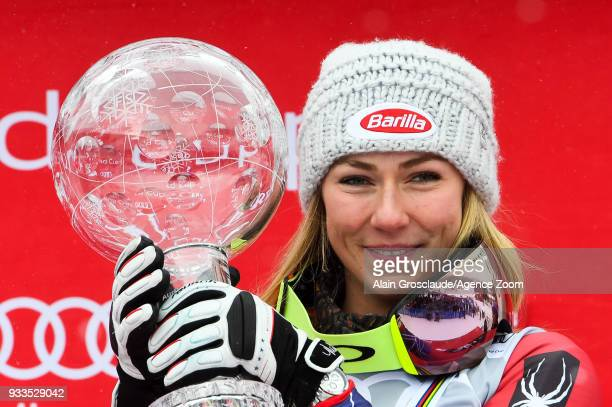 Mikaela Shiffrin of USA wins the globe in the overall standings during the Audi FIS Alpine Ski World Cup Finals Women's Giant Slalom on March 18 2018...