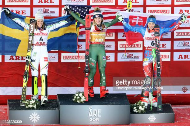 Mikaela Shiffrin of USA wins the gold medal Anna Swenn Larsson of Sweden wins the silver medal Petra Vlhova of Slovakia wins the bronze medal during...