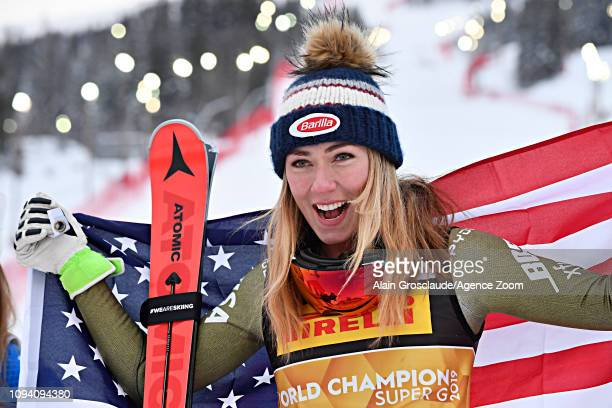 Mikaela Shiffrin of USA wins the gold medal during the FIS World Ski Championships Women's Super G on February 5 2019 in Are Sweden