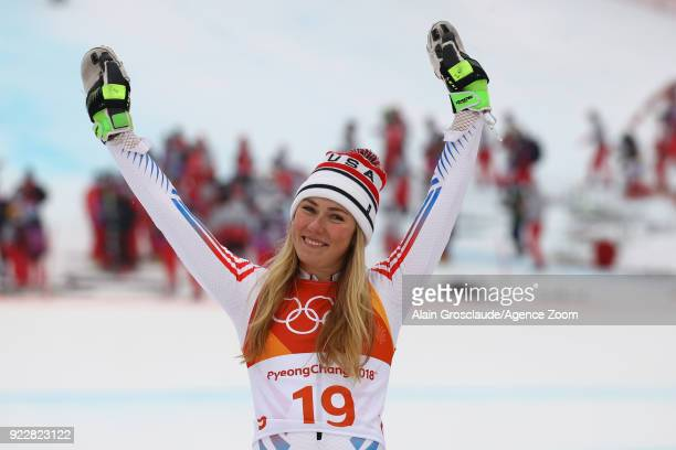 Mikaela Shiffrin of USA wins the silver medal during the Alpine Skiing Women's Combined at Jeongseon Alpine Centre on February 22 2018 in...