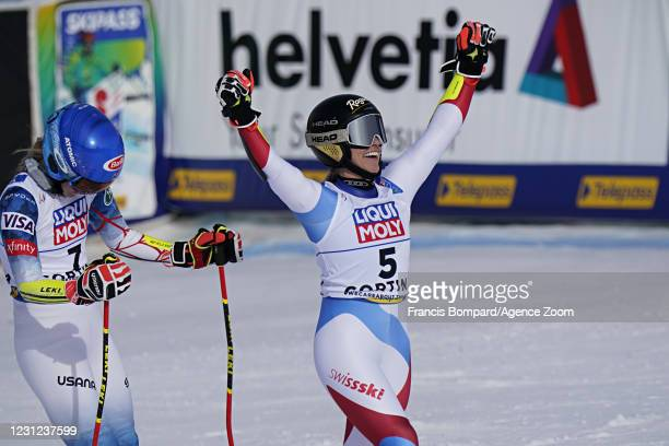 Mikaela Shiffrin of USA wins the silver medal, Lara Gut-behrami of Switzerland wins the gold medal during the FIS Alpine Ski World Championships...