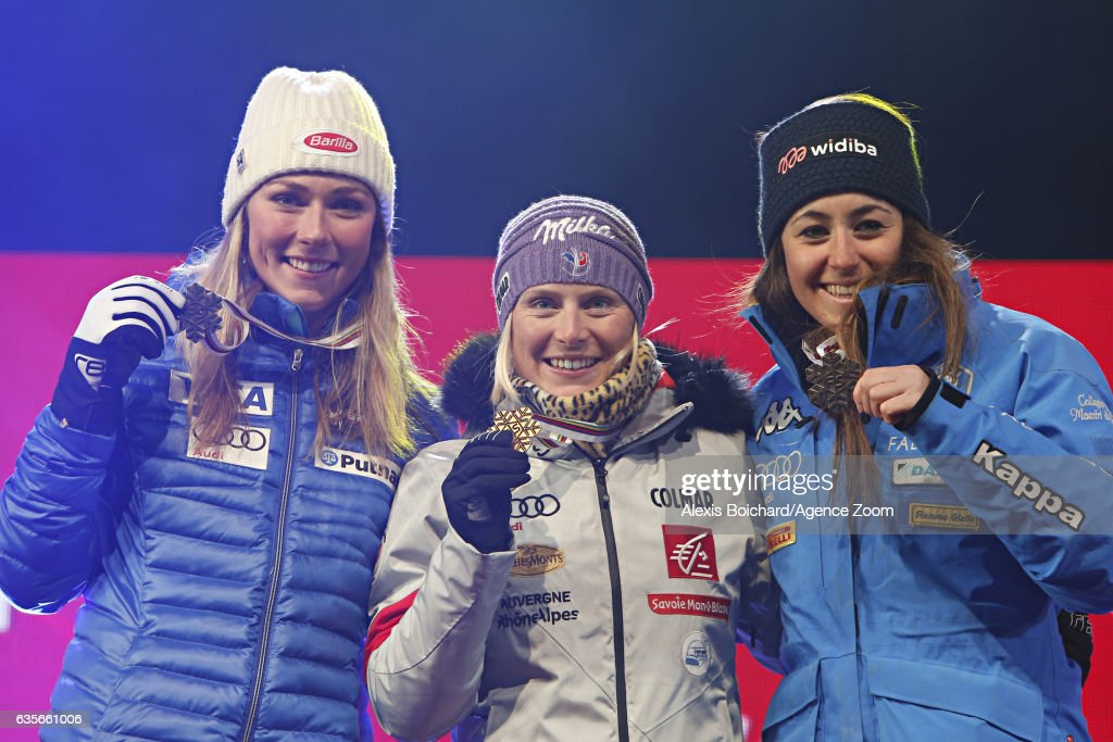 Mikaela Shiffrin of USA wins the silver medal, Tessa Worley of France wins the gold medal, Sofia Goggia of Italy wins the bronze medal during the FIS Alpine Ski World Championships Women's Giant Slalom on February 16, 2017 in St. Moritz, Switzerland
