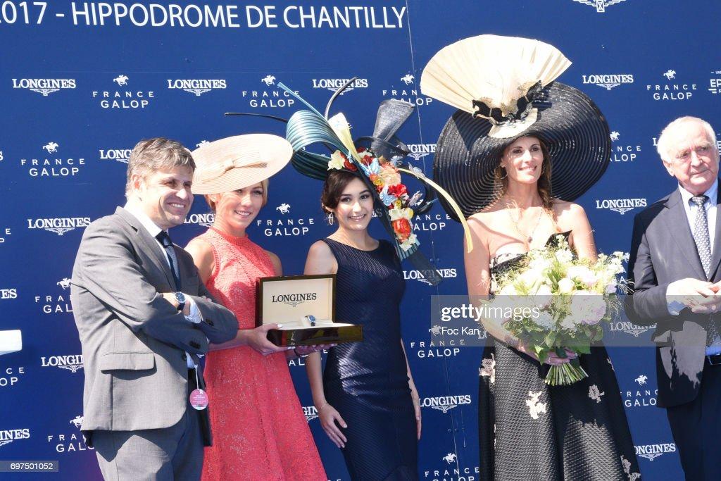 Mikaela Shiffrin, Prix de L Elegance Marie Sarah Ennceiri and Sophie Thalmann attend the 'Prix de Diane Longines 2017' on June 18, 2017 at Chantilly, France.
