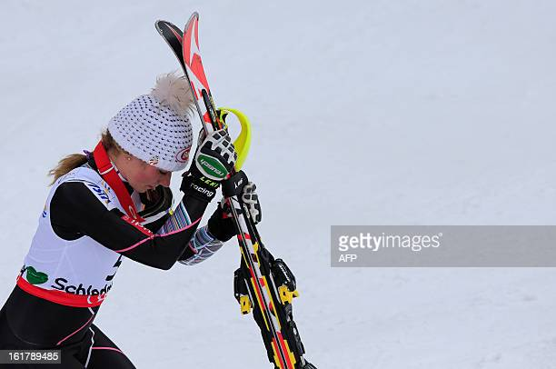 US Mikaela Shiffrin reacts before walking up to the podium after winnng the women's slalom at the 2013 Ski World Championships in Schladming Austria...