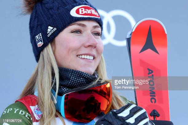 Mikaela Shriffrin of the United States in third place celebrates on the podium for the Women's Giant Slalom during the Audi FIS Ski World Cup -...