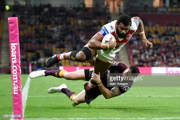 Mikaele Ravalawa of the Dragons scores a try during the round 15 NRL match between the Brisbane Broncos and the St George Illawarra Dragons at...
