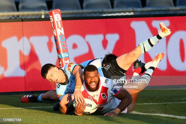 Mikaele Ravalawa of the Dragons scores a try during the round five NRL match between the St George Illawarra Dragons and the Cronulla Sharks at...