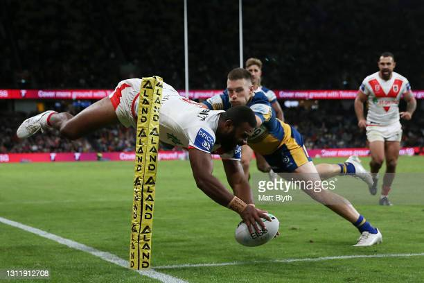 Mikaele Ravalawa of the Dragons scores a try during the round five NRL match between the Parramatta Eels and the St George Illawarra Dragons at...