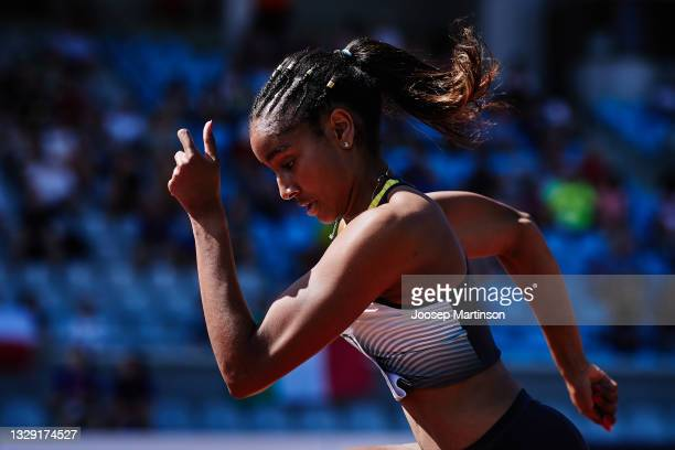 Mikaelle Assani of Germany competes in the Women's Long Jump qualification during European Athletics U20 Championships Day 3 at Kadriorg Stadium on...