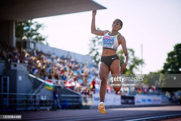 Mikaelle Assani of Germany competes in the Women's Long Jump Final during European Athletics U20 Championships Day 4 at Kadriorg Stadium on July 18,...