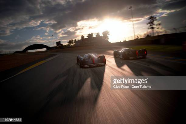 Mikail Hizal of Germany is overtaken by Takuma Miyazono into the first corner in Race 3 of the Nations Cup Final during the Gran Turismo World Tour...