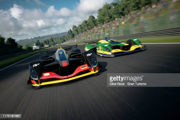 Mikail Hizal of Germany leads Igor Fraga of Brazil during the final of the FIA Nations Cup during the Gran Turismo World Tour at the PlayStation...