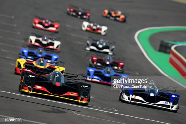 Mikail Hizal of Germany leads the field away at the start of the Nations Cup Grand Final during the Gran Turismo World Tour 2019 Finals held at...