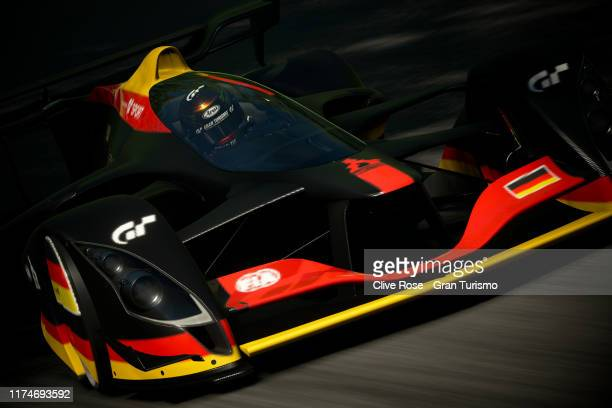 Mikail Hizal of Germany leads the race in the Grand Final of the Nations Cup during round four of the FIA Gran Turismo World Tour held at Red Bull...