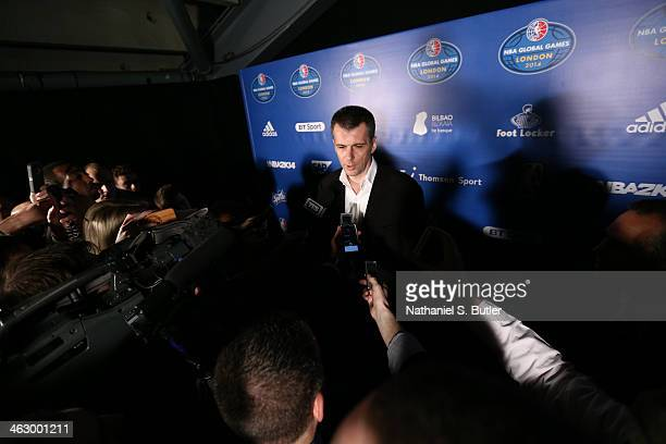 Mikail Prokhorov of the Brooklyn Nets speaks to the media prior to the game against the Atlanta Hawks as part of the 2014 Global Games on January 16...