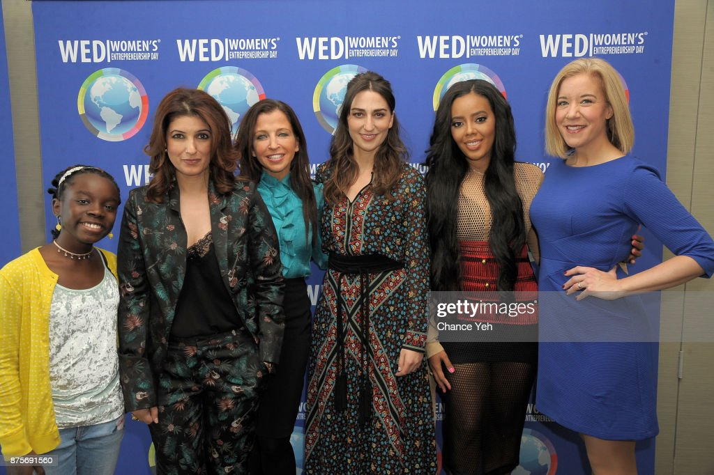 Mikaila Ulmer Twinkle Khanna Wendy Diamond Sara Bareilles Angela Simmons and Veronica Dagher attend 2017 Women`s Entrepreneurship Day at The United...