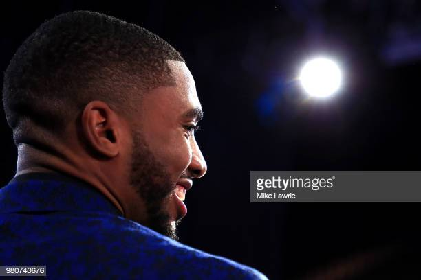 Mikal Bridges looks on before the 2018 NBA Draft at the Barclays Center on June 21 2018 in the Brooklyn borough of New York City NOTE TO USER User...