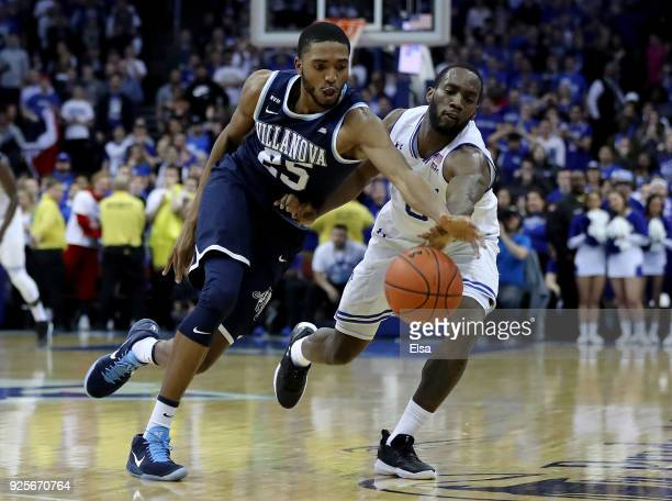Mikal Bridges of the Villanova Wildcats attempts the steal from Khadeen Carrington of the Seton Hall Pirates on February 28 2018 at Prudential Center...