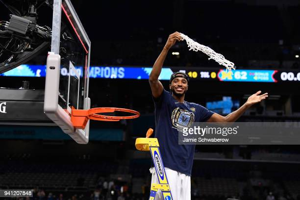 Mikal Bridges of the Villanova Wildcats celebrates after the 2018 NCAA Photos via Getty Images Men's Final Four National Championship game against...