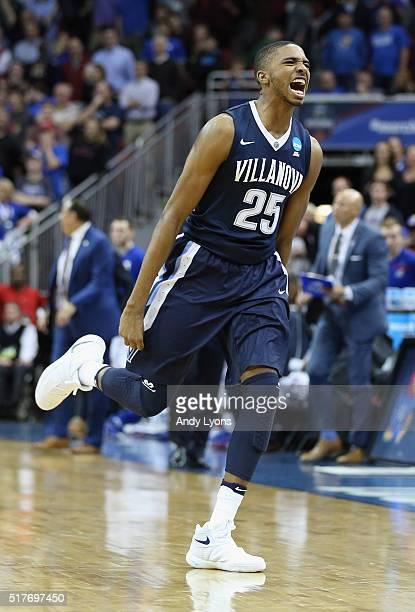 Mikal Bridges of the Villanova Wildcats celebrates defeating the Kansas Jayhawks 64-59 during the 2016 NCAA Men's Basketball Tournament South...