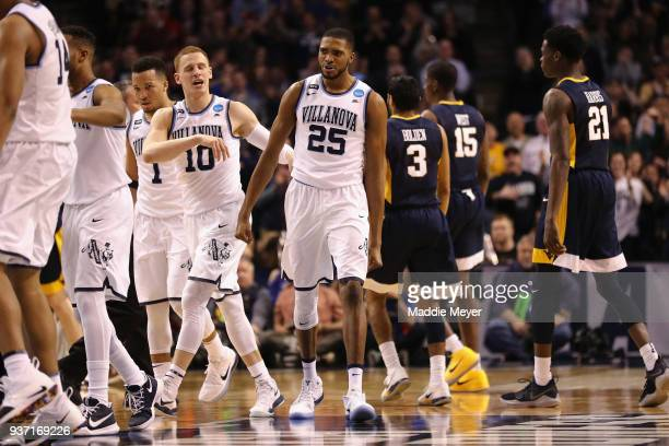 Mikal Bridges of the Villanova Wildcats celebrates during the second half against the West Virginia Mountaineers in the 2018 NCAA Men's Basketball...