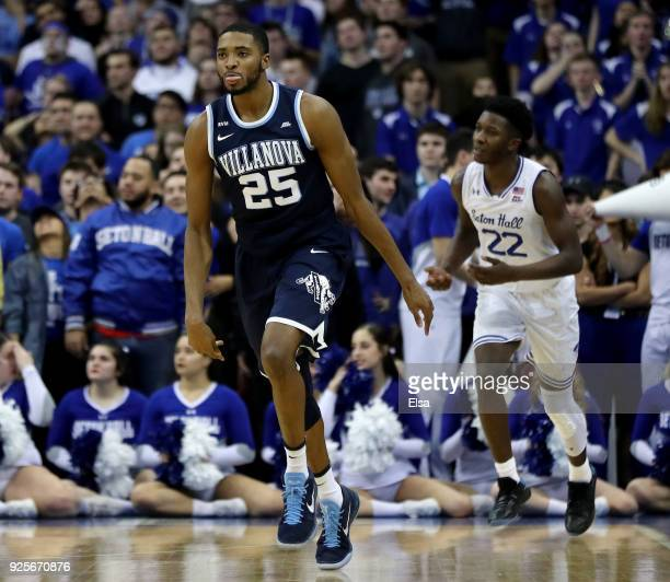 Mikal Bridges of the Villanova Wildcats celebrates his three point shot in the overtime period against the Seton Hall Pirates on February 28 2018 at...