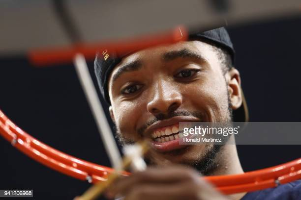 Mikal Bridges of the Villanova Wildcats cuts down the net after defeating the Michigan Wolverines during the 2018 NCAA Men's Final Four National...