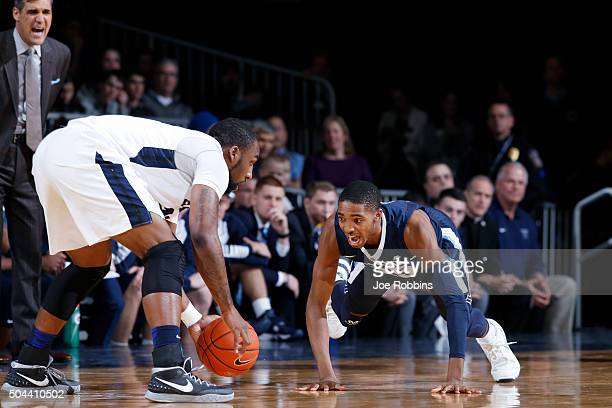 Mikal Bridges of the Villanova Wildcats defends against Roosevelt Jones of the Butler Bulldogs in the first half of the game at Hinkle Fieldhouse on...