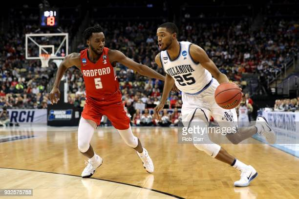 Mikal Bridges of the Villanova Wildcats drives to the basket against Donald Hicks of the Radford Highlanders during the second half of the game in...