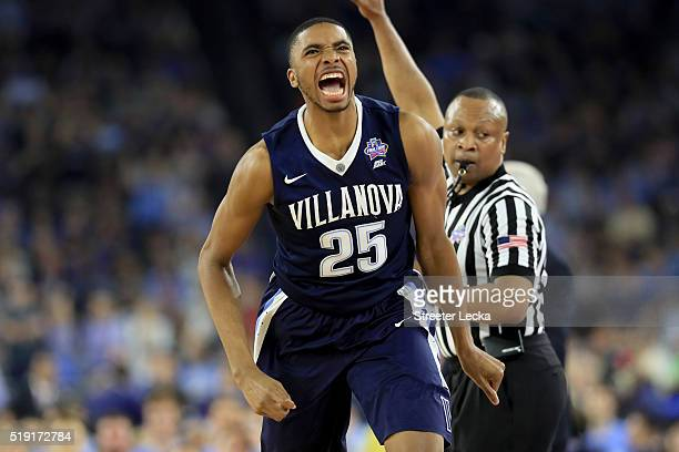Mikal Bridges of the Villanova Wildcats reacts in the second half against the North Carolina Tar Heels during the 2016 NCAA Men's Final Four National...