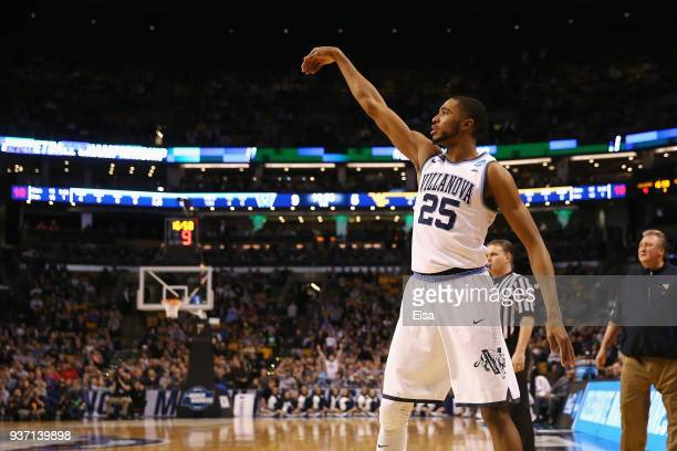 Mikal Bridges of the Villanova Wildcats watches his three point shot during the first half against the West Virginia Mountaineers in the 2018 NCAA...