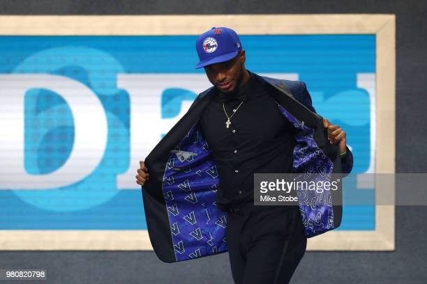 Mikal Bridges reacts after being drafted tenth overall by the Philadelphia 76ers during the 2018 NBA Draft at the Barclays Center on June 21 2018 in...