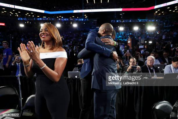 Mikal Bridges reacts after being selected tenth overall by the Philadelphia 76ers on June 21 2018 at Barclays Center during the 2018 NBA Draft in...
