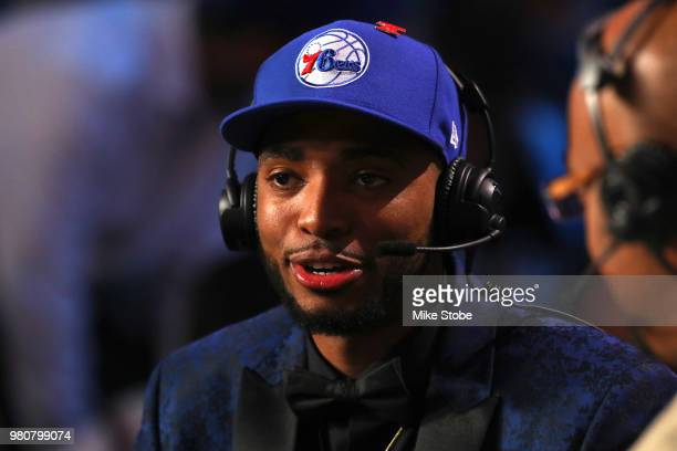 Mikal Bridges speaks to media after being drafted tenth overall by the Philadelphia 76ers during the 2018 NBA Draft at the Barclays Center on June 21...