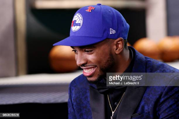 Mikal Bridges talks to the media after being selected tenth overall by the Philadelphia 76ers on June 21 2018 at Barclays Center during the 2018 NBA...
