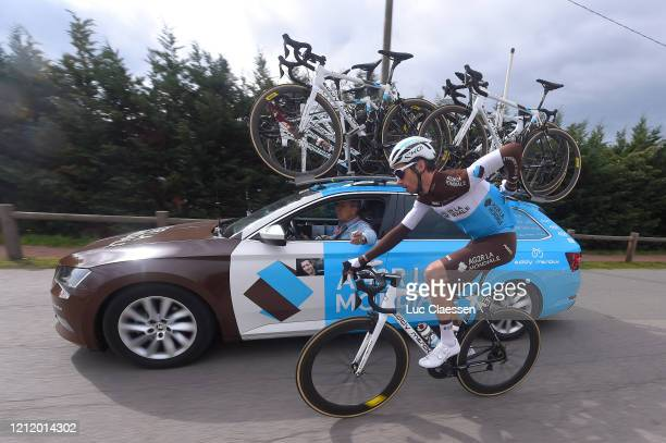Mikaël Cherel of France and Team AG2R La Mondiale / Team AG2R La Mondiale tributes to Nicolas Portal of France Coach and ExProcyclist who died March...