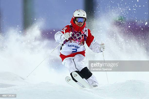 Mikaël Kingsbury of Canada trains during moguls practice at the Extreme Park at Rosa Khutor Mountain ahead of the Sochi 2014 Winter Olympics on...