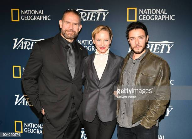 Mikal Vega Anne Heche and Hadi Tabbal visit Variety's inaugural Salute To Service at Cipriani 25 Broadway on January 11 2018 in New York City