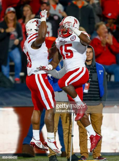 Mikale Wilbon and De'Mornay PiersonEl of the Nebraska Cornhuskers celebrate a touchdown against the Illinois Fighting Illini at Memorial Stadium on...