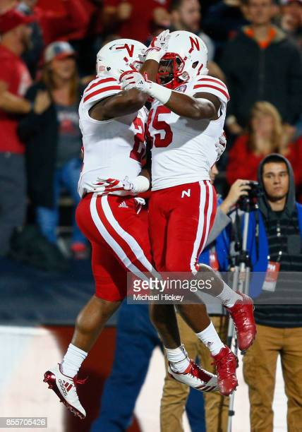 Mikale Wilbon of the Nebraska Cornhuskers and De'Mornay PiersonEl of the Nebraska Cornhuskers celebrate a touchdown during the game against the...