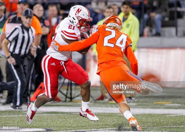 Mikale Wilbon of the Nebraska Cornhuskers runs the ball against the Illinois Fighting Illini at Memorial Stadium on September 29 2017 in Champaign...