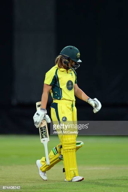 Mikayla Hinkley of the Governor General's XI looks dejected after being dismissed by Nat Sciver of England during the T20 match between the...